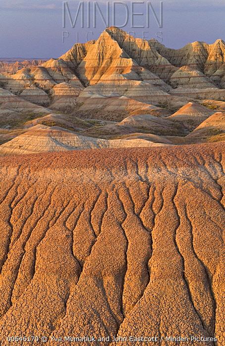 Sandstone rock formations, Badlands National Park, South Dakota