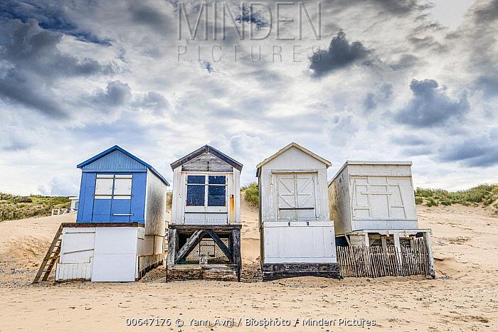 Huts on Bleriot-plage resort, Sangatte, Pas-de-Calais, France