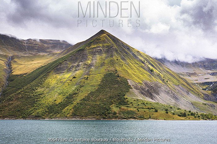 Mountain, Grand Maison Lake created by dam, Isere, France