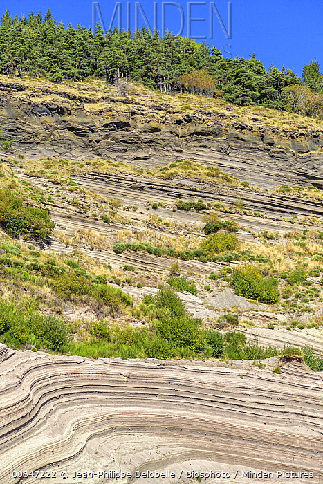 Phreato-magmatic deposits in an active quarry, Geopark des Monts d'Ardeche, Molines, France