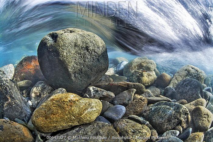 Rocks underwater, Bonne River, Valbonnais, Isere, France