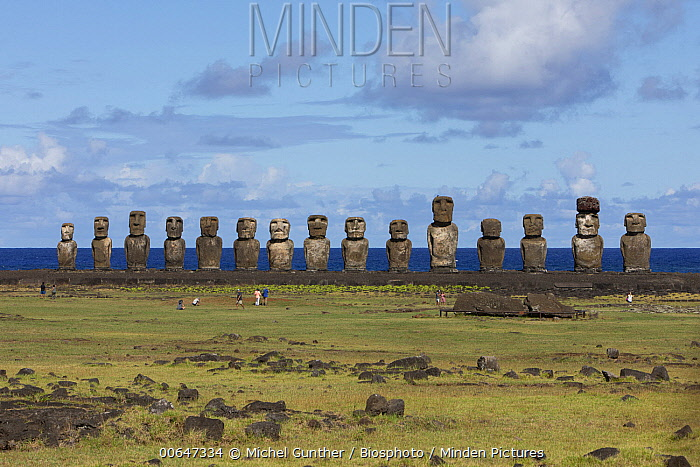 Moai rock sculptures, Ahu Tongariki, Easter Island, Chile