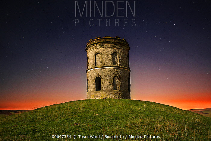 Solomon's Temple, also known as Grinlow Tower is a Victorian folly, at sunset, Buxton, England