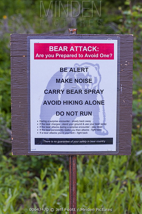 Bear warning sign, Grand Teton National Park, Wyoming