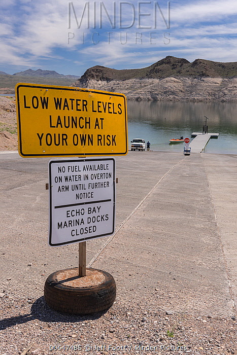 Reservoir with low water levels due to drought, Lake Mead National Recreation Area, Nevada