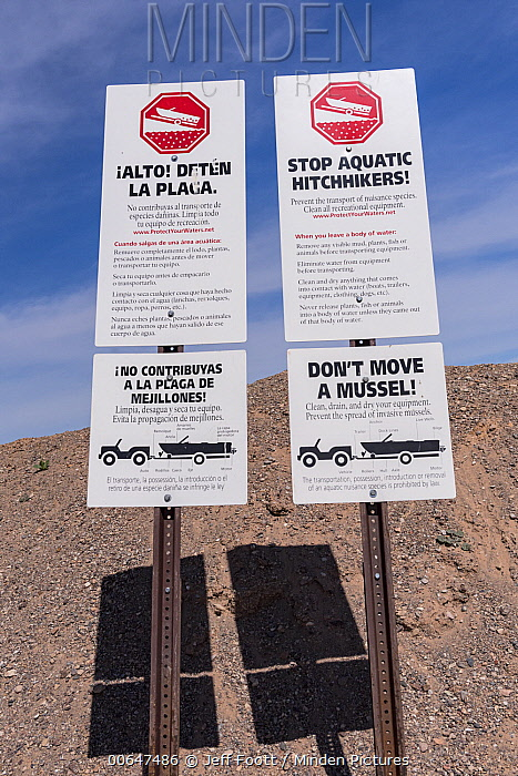 Invasive species warning sign at reservoir, Lake Mead National Recreation Area, Nevada