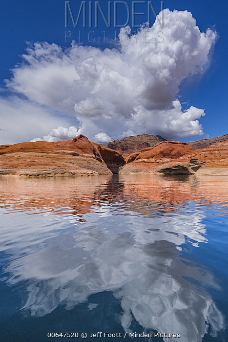 Cumulus clouds over sandstone, Lake Powell, Glen Canyon National Recreation Area, Utah