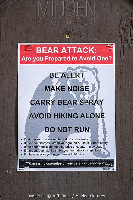 Bear warning sign, Yellowstone National Park, Wyoming