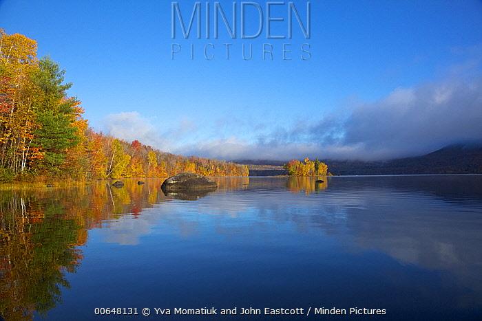 Deciduous forest and reservoir in autumn, Chittenden Reservoir, Vermont