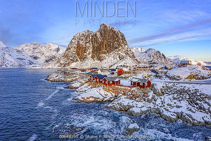 Fishing village along coast, Hamnoy, Lofoten Islands, Iceland