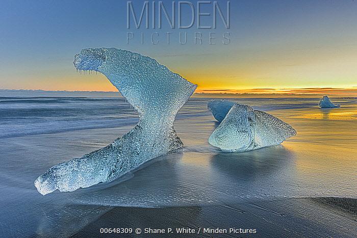 Ice chunks on beach, Jokulsarlon, Iceland