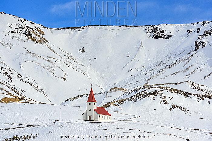 Church in winter, Vik, Iceland