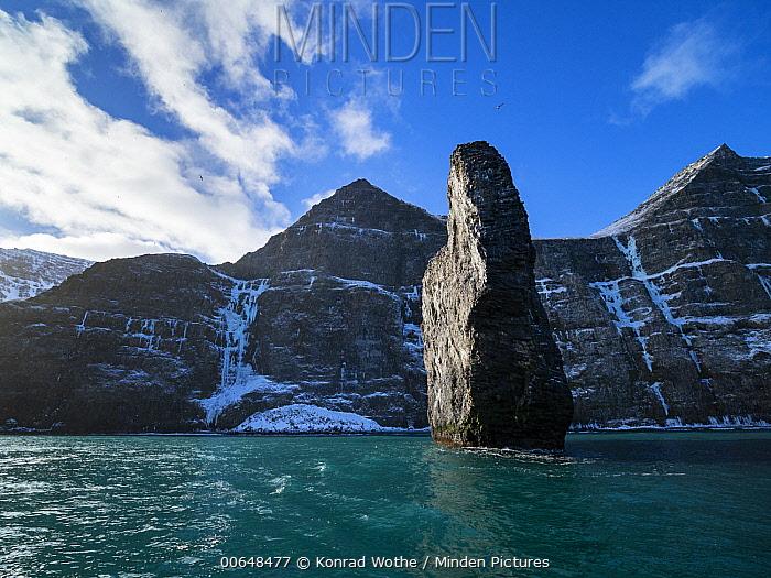 Sea stack, Hornvik Bay, Hornstrandir Nature Reserve, Iceland