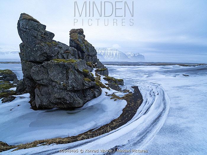Rock formation in winter, Hornvik Bay, Hornstrandir Nature Reserve, Iceland