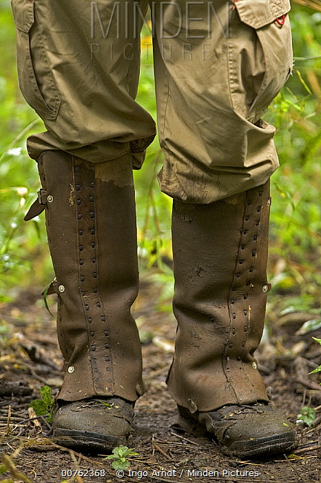 Researcher wearing leg guards as protection from poisonous snakes Santa Rosa National Park, Costa Rica  -  Ingo Arndt