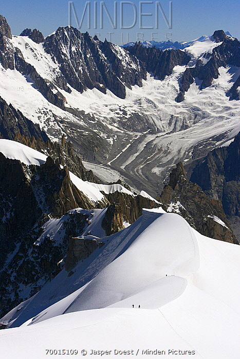 Mountaineers in landscape, Chamonix, France  -  Jasper Doest