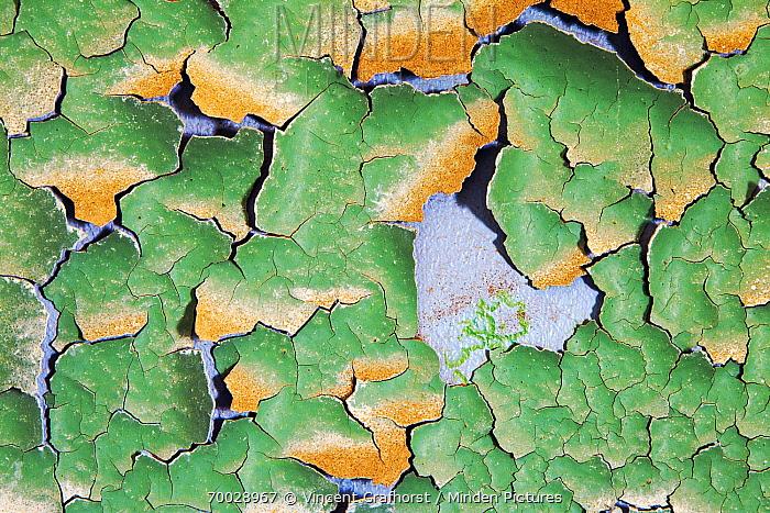 Cracked green paint peeling off a blue wall, Kolmanskop, Luderitz, Namibia  -  Vincent Grafhorst
