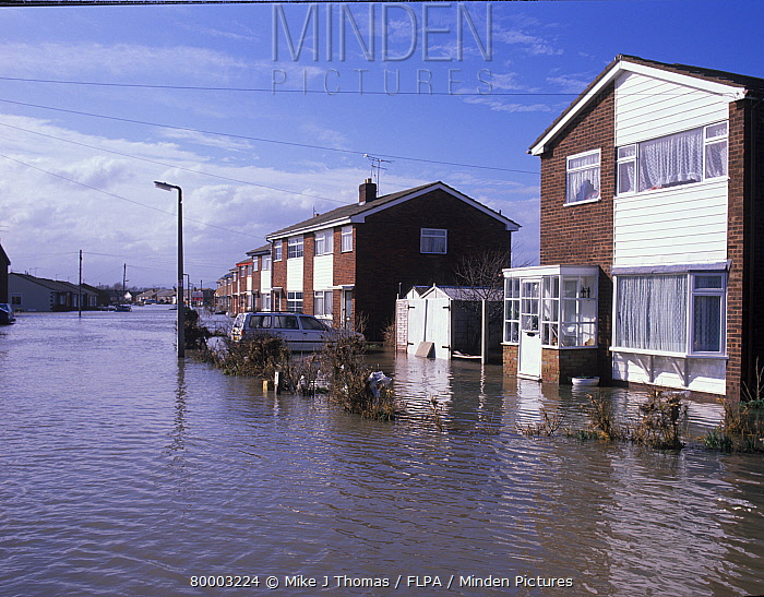 Flood, UK View Of Street In Modern Housing Estate, Towyn, North Wales,