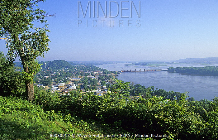 View of river, dam and town, Mississippi River, Iowa, U.S.A., august  -  Wayne Hutchinson/ FLPA