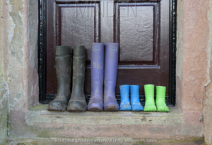 Four pairs of wellington boots, two children's pairs, one women's pair and men's pair, outside farmhouse door, Whitewell, Lancashire, England, december  -  John Eveson/ FLPA