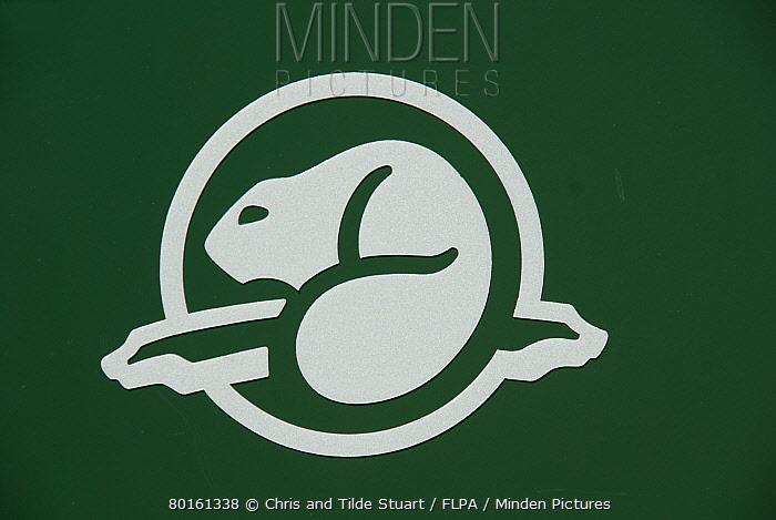 Beaver logo of 'Parks Canada' Canadian National Parks Agency, Saskatchewan, Canada, June  -  Chris & Tilde Stuart/ FLPA