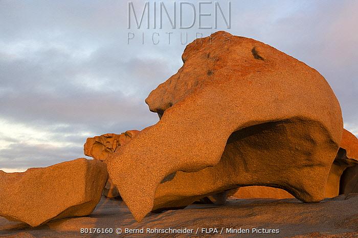 Eroded coastal rocks on granite outcrop at sunset, Remarkable Rocks, Flinders Chase National Park, Kangaroo Island, South Australia, Australia, February  -  Bernd Rohrschneider/ FLPA