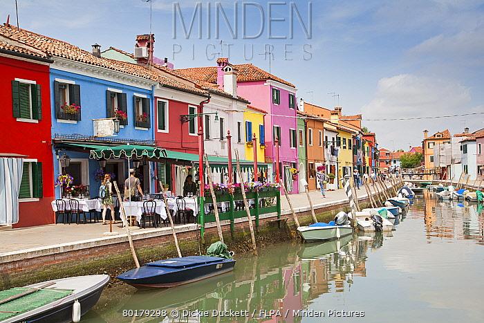 Multi-coloured restaurant and houses along canal waterfront, Burano Island, Venetian Lagoon, Venice, Veneto, Italy, May  -  Dickie Duckett/ FLPA