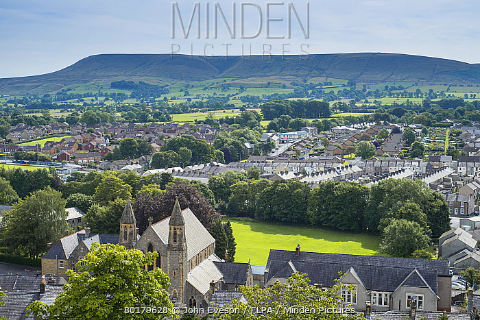 View over town towards farmland and hill, looking from Clitheroe Castle towards Pendle Hill, Clitheroe, Lancashire, England, August  -  John Eveson/ FLPA