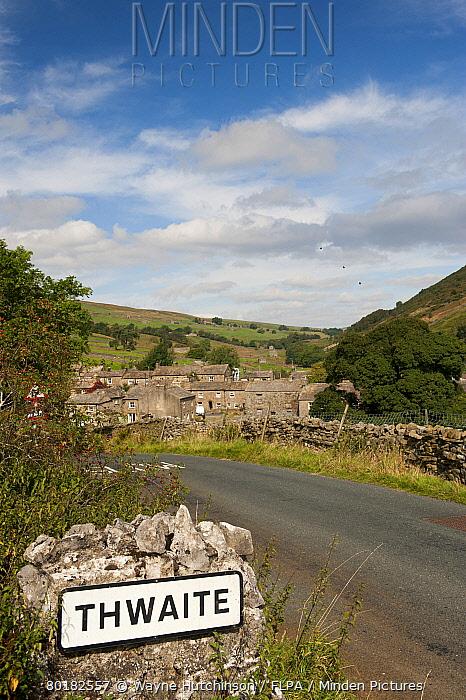 Sign beside road into village, Thwaite, Swaledale, Yorkshire Dales, North Yorkshire, England, September  -  Wayne Hutchinson/ FLPA