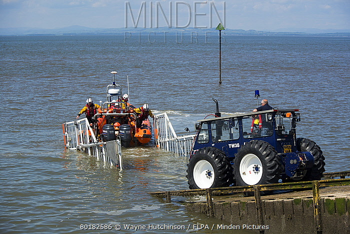 RNLI B-class Atlantic rigid inflatable lifeboat, returning into launch ramp after training exercise, Silloth, Solway Bay, Cumbria, England, June  -  Wayne Hutchinson/ FLPA