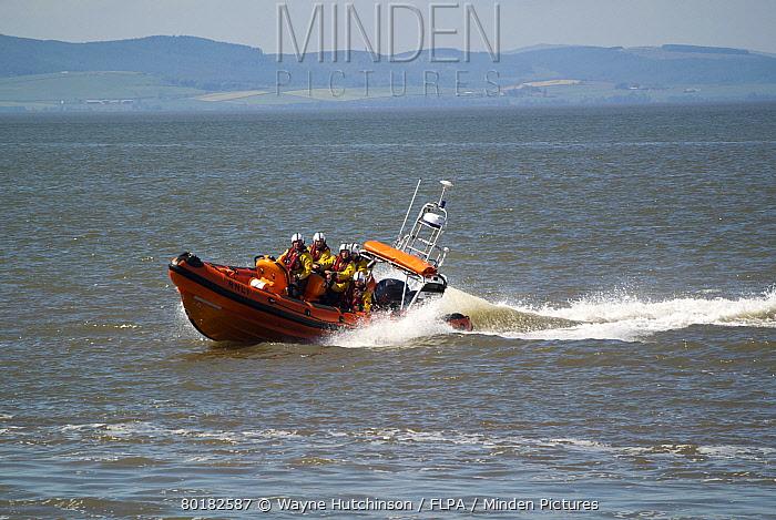 RNLI B-class Atlantic rigid inflatable lifeboat, on training manoeuvres at sea, Silloth, Solway Bay, Cumbria, England, June  -  Wayne Hutchinson/ FLPA