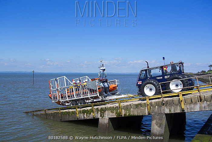RNLI B-class Atlantic rigid inflatable lifeboat, being launched from slipway, Silloth, Solway Bay, Cumbria, England, June  -  Wayne Hutchinson/ FLPA