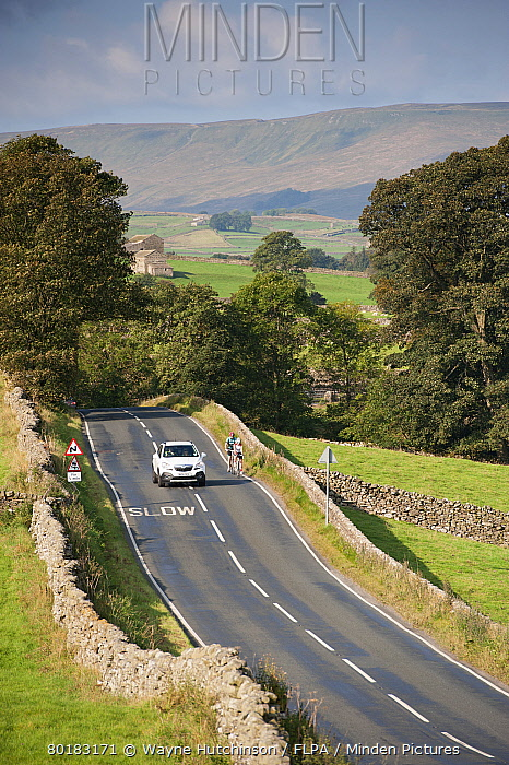 Country road with car passing cyclists, near Hawes, Wensleydale, Yorkshire Dales National Park, North Yorkshire, England, September  -  Wayne Hutchinson/ FLPA