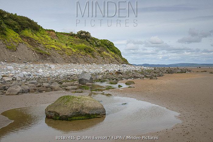 View of rocks on beach at low tide, Moat Scar, Newbiggin Beach, Furness, Cumbria, England, June  -  John Eveson/ FLPA