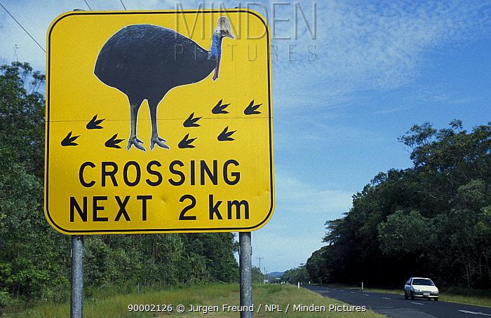 Cassowary protection warning road signs, Western Australia  -  Jurgen Freund/ npl