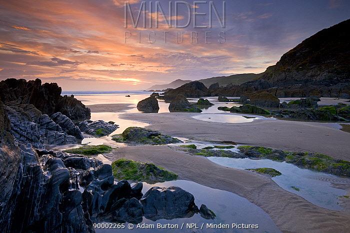 Combesgate Beach on the North Devon coast, Woollacombe, Devon, England  -  Adam Burton/ npl