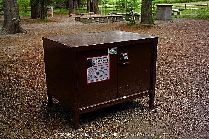 Black Bear (Ursus americanus) preventive measure food storage boxStorage box for campsite food to prevent stealing by bears, Yosemite National Park, California  -  Adrian Davies/ npl