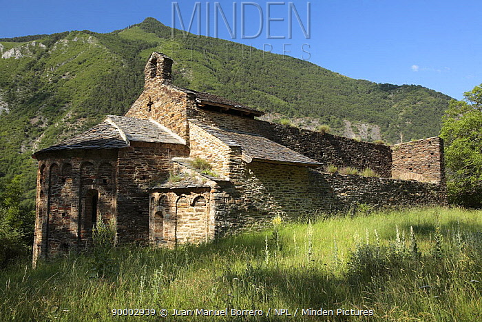 Romanesque Monastery of St Pere de Burgal in the Pyrenees mountains, Catalonia, Lerida, Spain  -  Juan Manuel Borrero/ npl