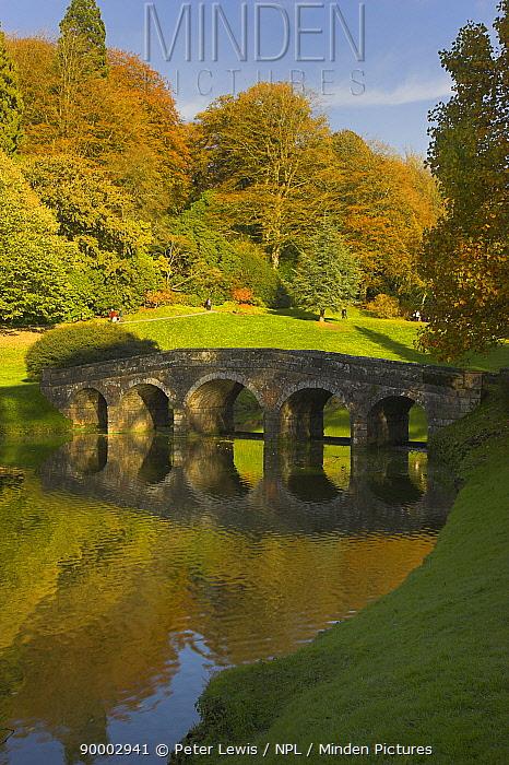 Stourhead Gardens in the autumn, Wiltshire, UK  -  Peter Lewis/ npl