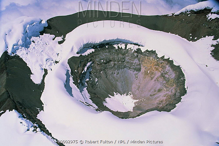 Aerial view of Cotopaxi volcano crater covered in snow, Ecuador, South America, 2000  -  Robert Fulton/ npl