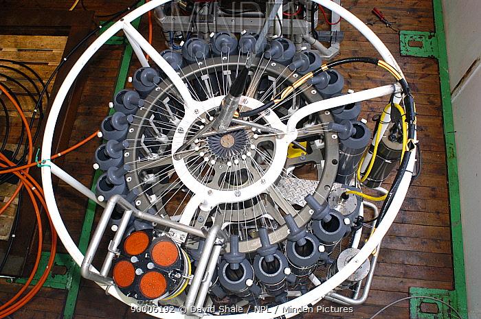 CTD (conductivity, temperature, depth) water sampling equipment, bottles loaded, on board research boat GO Sars Atlantic ocean deep sea research  -  David Shale/ npl
