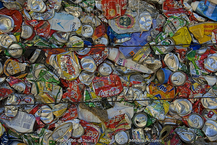 Aluminium cans baled up for recycling, Arles, Provence, France  -  Jean E. Roche/ npl