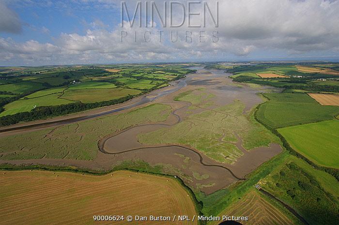 Aerial view of River Camel inland from Padstow, Cornwall, UK  -  Dan Burton/ npl
