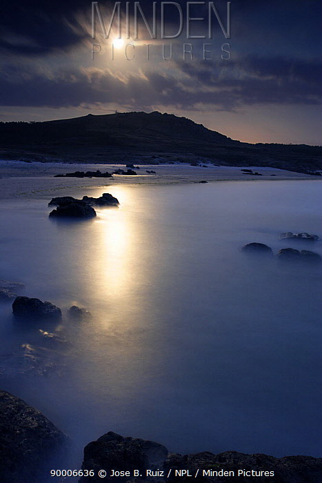 Moon over Cape Vilan and the sea, Camarinas, Costa da Morte, Spain  -  Jose B. Ruiz/ npl