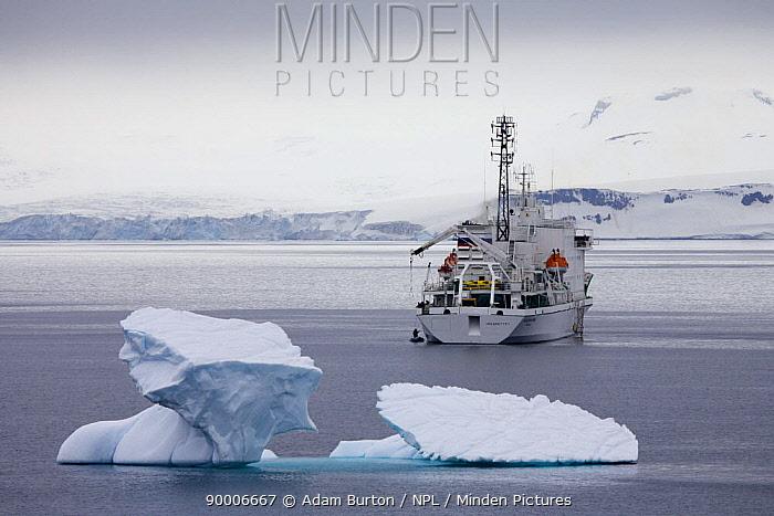Russian research vessel and tourist ship Akademik Ioffe anchored off Half Moon Island, South Shetland Islands, Antarctic Peninsula, Antarctica December 2007  -  Adam Burton/ npl