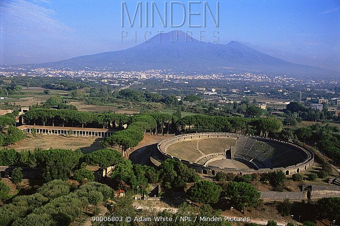Roman amphitheatre at Pompeii with Mount Vesuvius in the background, Southern Italy  -  Adam White/ npl