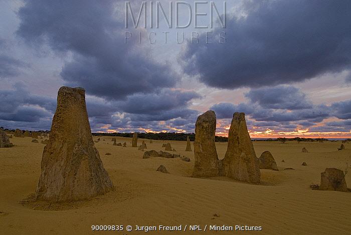 Sunset over the limestone formations of the Pinnacles Desert, Nambung National Park, Western Australia  -  Jurgen Freund/ npl
