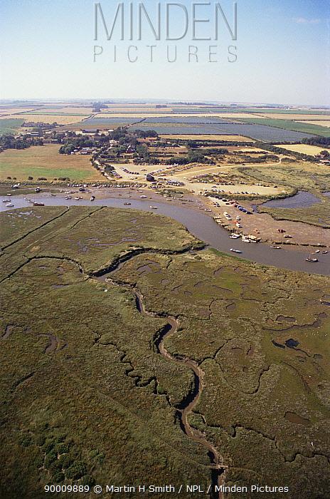 Aerial view of salt marsh and boating yard, Morston, Norfolk, UK  -  Martin H Smith/ npl