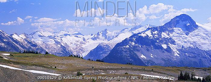 Snow topped McBride Mountain Range, Garibaldi Provincial Park, British Columbia, Canada  -  Kirkendall-spring/ npl