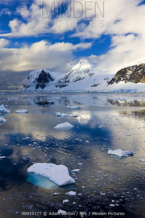 Mountains and icebergs on Antarctic Peninsula, Antarctica December 2007  -  Adam Burton/ npl